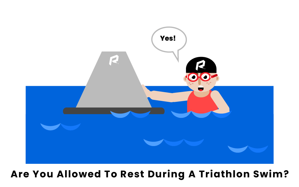 Are you allowed to rest during a triathlon swim?